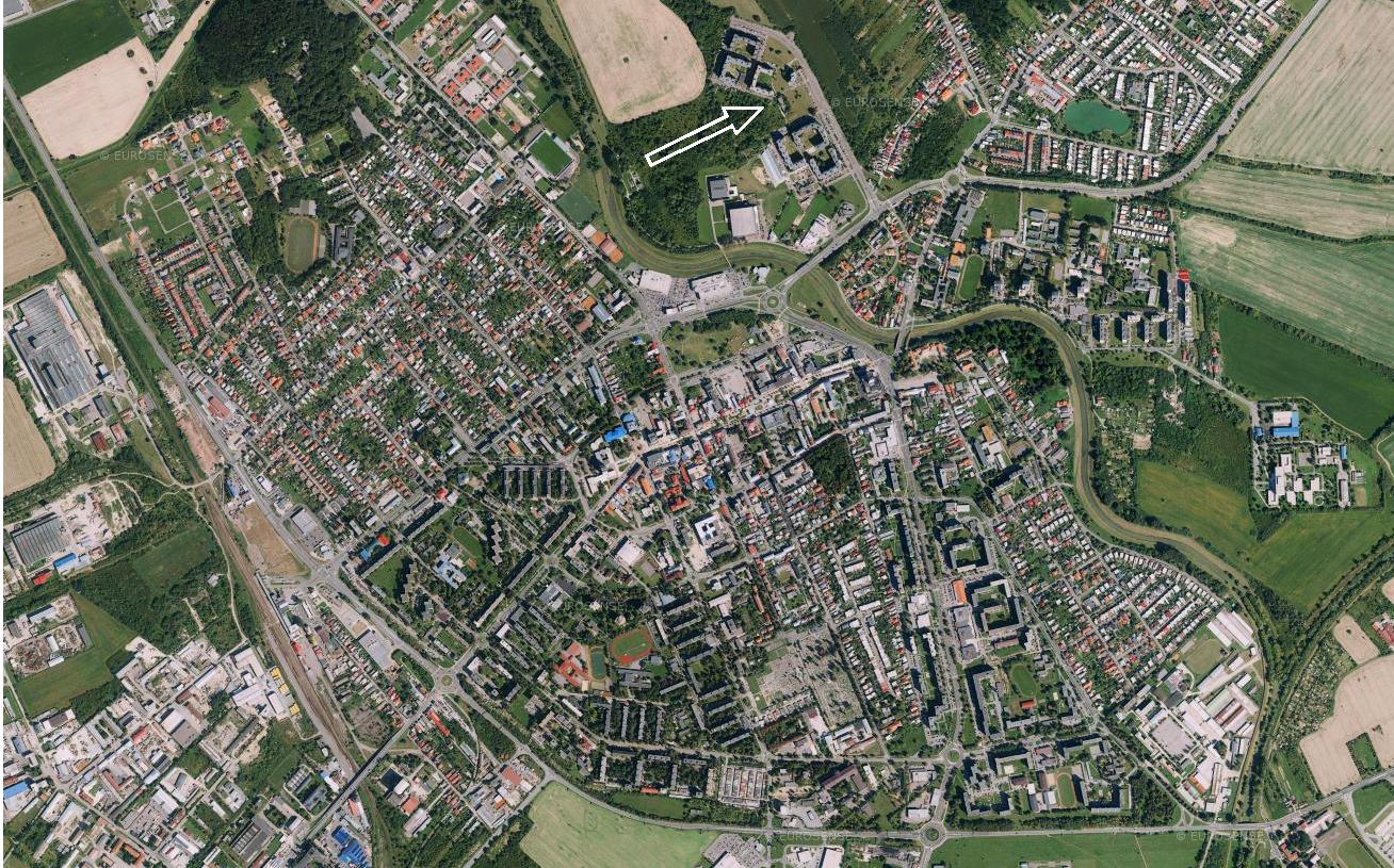 Výřez z mapy s celkovým pohledem na město Michalovce. [1]